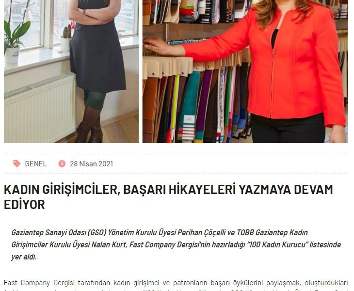 WOMEN ENTREPRENEURS CONTINUE TO WRITE SUCCESS STORIES-GAZİANTEP CHAMBER OF INDUSTRY