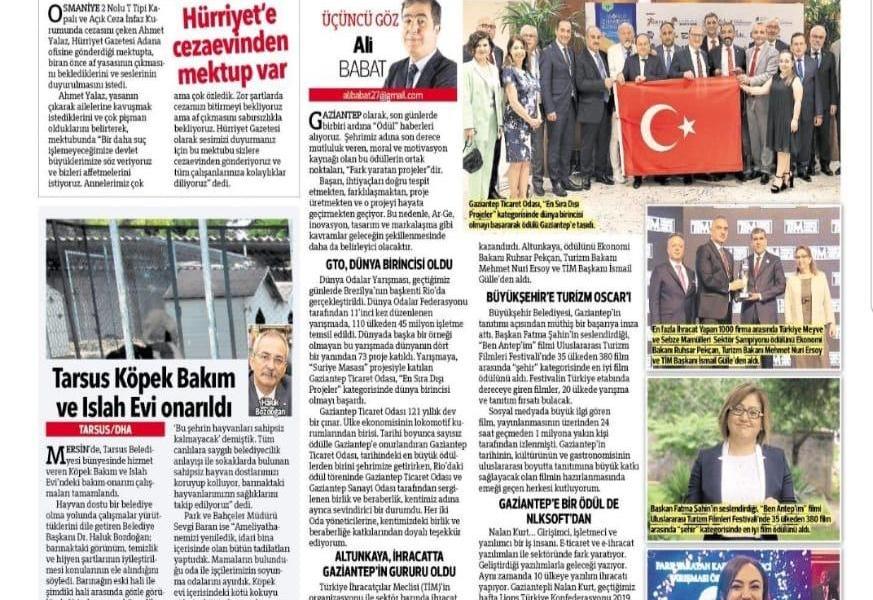 We are at the Morale-Giving Awards Corner of Hürriyet Newspaper.