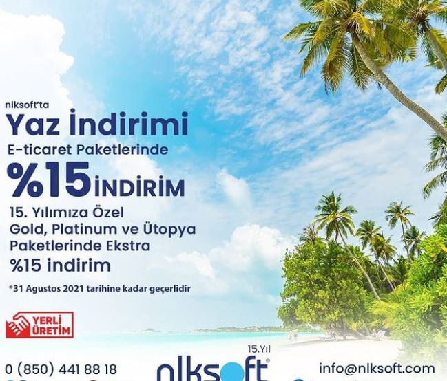 15% discount on nlksoft E-Commerce Packages special for nlksoft's 15th anniversary! Meet with nlksoft E-Ticaret to sell your products or services online right away!